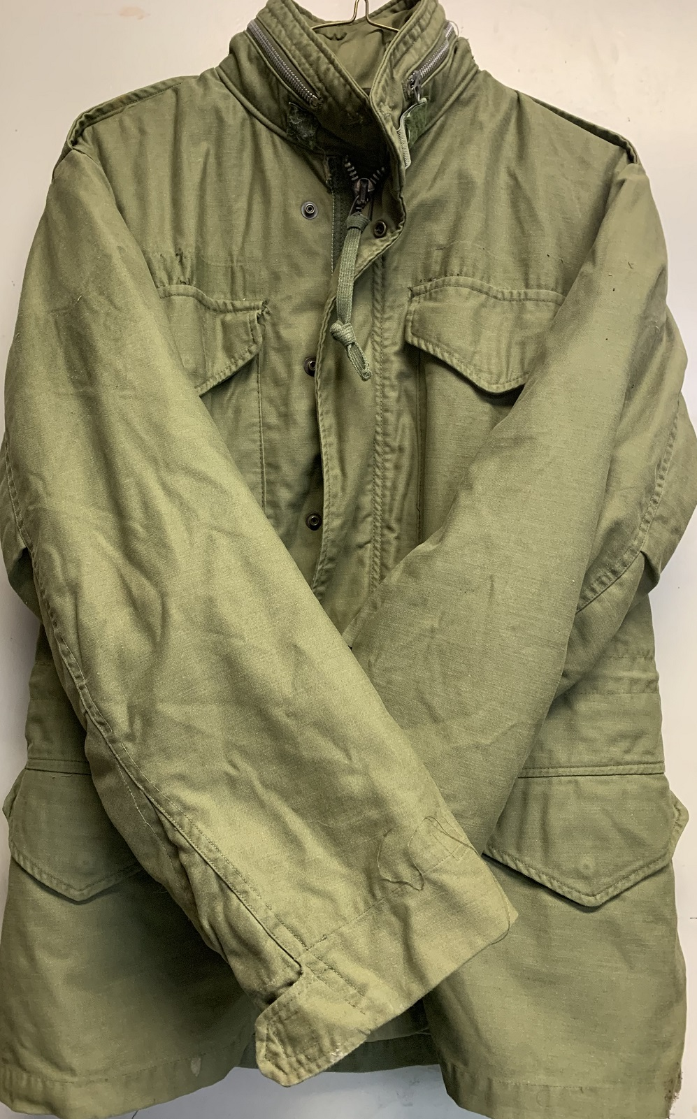 M-65 Field Jacket With Liner OD Green Size MED good usable condition