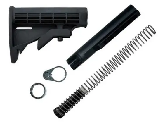 Mil Spec M4 6 Position Butt Stock Kit w/tube, spring, weight, End Plate, Castle Nut,  6 position stock