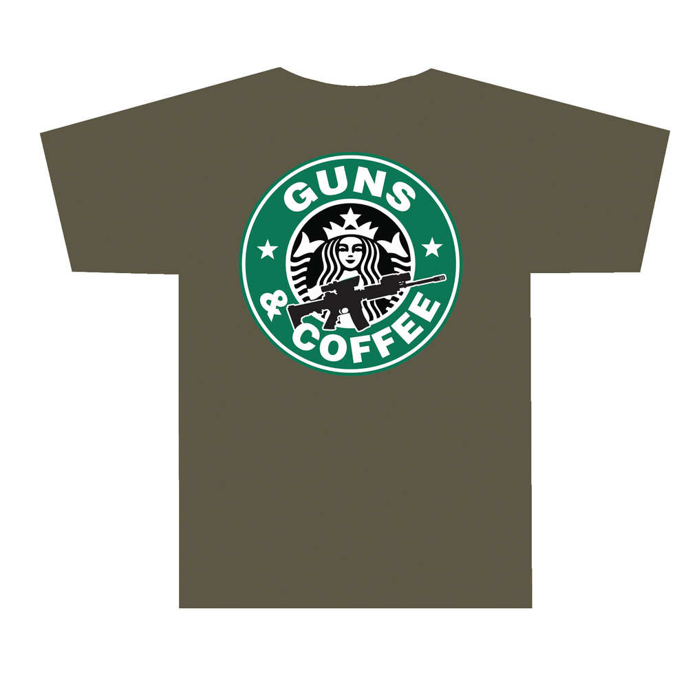 tuff products - 3001ODXL - GUNS AND COFFEE T-SHIRT OLV DRB - XL for sale